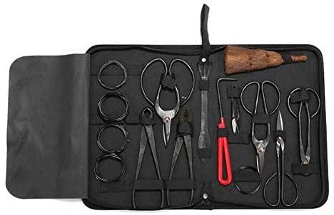 mooderff Bonsaï Kit d'Outil, Ensemble Outils de Jardinage Ciseaux Cisaille en Carbon Steel, Professional Bonsai Tool Kit pour Jardin Topiaire avec Étui en Nylon,10 Pcs