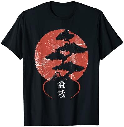 Bonsaï Arbre graphique Tee Soleil de vêtements zen japonais T-Shirt